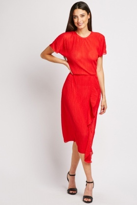 Plisse Ruffle Midi Dress