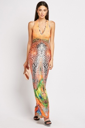 Printed Halter Neck Maxi Dress