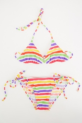Triangle Candy Striped Bikini Set
