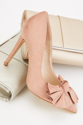 Suedette Front Bow Court Heels