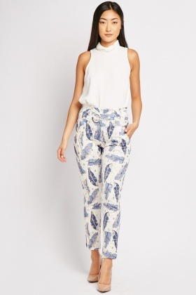 Floral Metallic Print Trousers