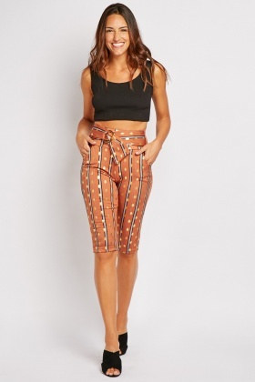 Metallic Printed Cropped Trousers