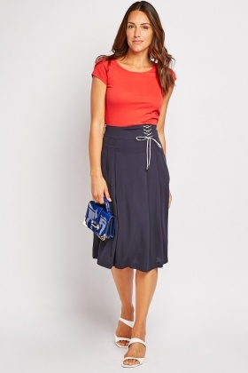 Pleated Lace Up Side Midi Skirt