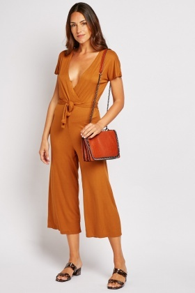 Ribbed Wrap Tie Up Jumpsuit