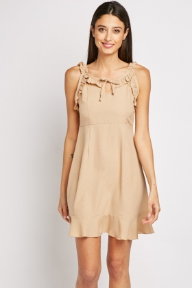 Frilly Strap Mini Dress