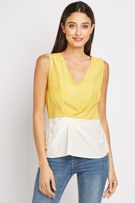 Two Tone Knot Front Top