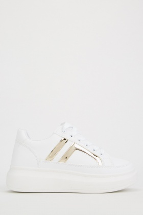Faux Leather Platform Trainers $6.70