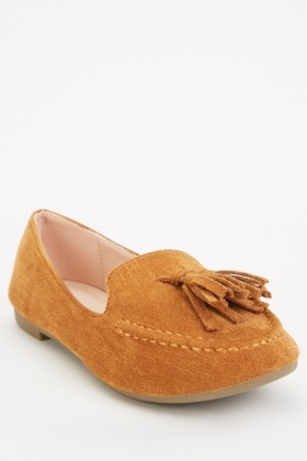 Suedette Tassel Front Detail Loafers