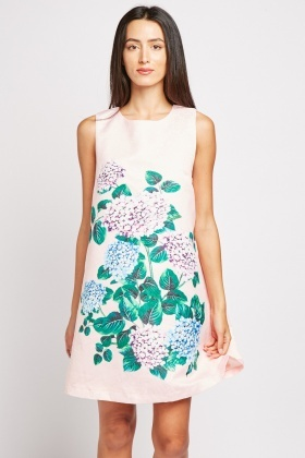 Flower Printed Mini Shift Dress