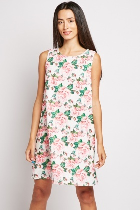 Large Rose Print Shift Dress