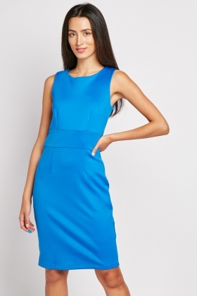 Round Neck Midi Pencil Dress