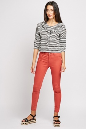 Skinny Fitted Mid Rise Jeans