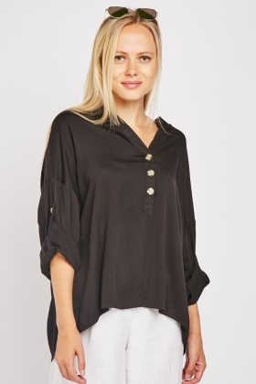 Adjustable Sleeve Button Front Blouse