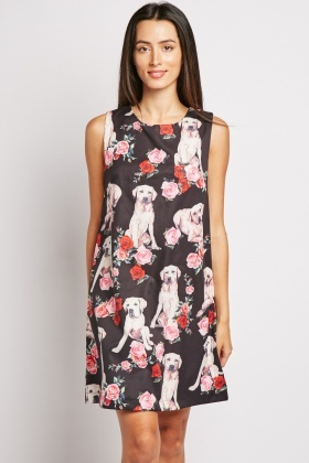Dog Flower Print Shift Dress