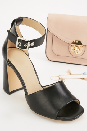 Faux Leather Ankle Strap Sandals