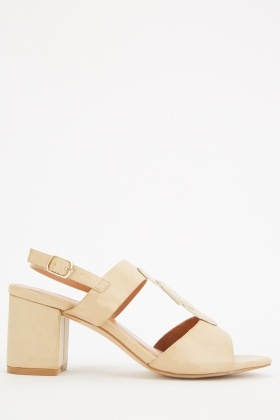 Stitched Front Detail Block Heels