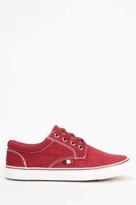 Top Stitched Lace Up Plimsolls