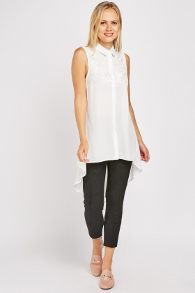 Embroidered Dip Hem Shirt
