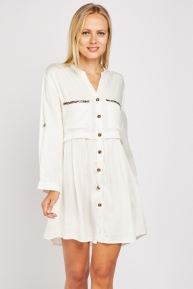 Encrusted Pocket Trim Mini Dress