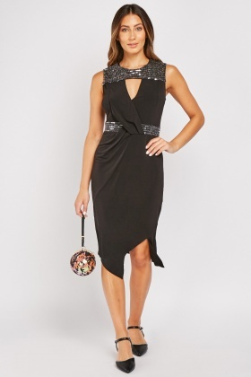 Sequin Panel Knot Front Dress