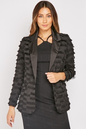 Tassel Trim Black Blazer