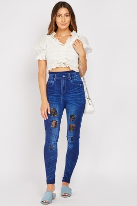 Distressed Faded Effect Jeggings