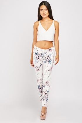 Low Waist Splattered Paint Trousers