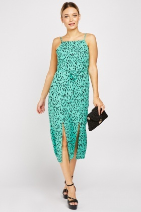 Printed Slit Hem Midi Dress