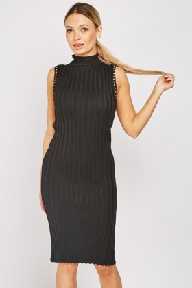 Studded Trim Ribbed Bodycon Dress