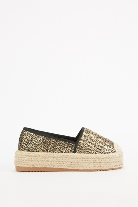 Gold Braided Espadrilles