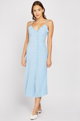 Frilly Trim Midi Slip Dress