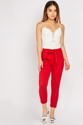 Oversized Pocket Front Tapered Trousers