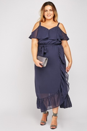 Ruffle Overlay Wrap Dress