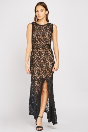 Slit Front Lace Maxi Dress
