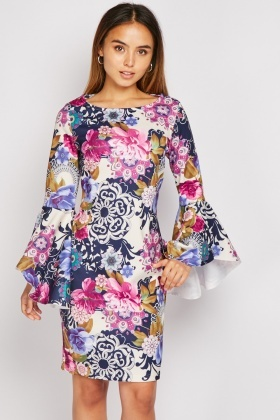 Bell Sleeve Print Mini Dress