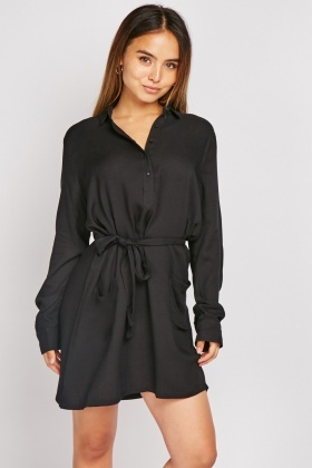 Double Pocket Front Shirt Dress