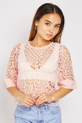Perforated Crochet Flared Sleeve Top