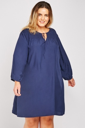Shirred Panel Smock Dress