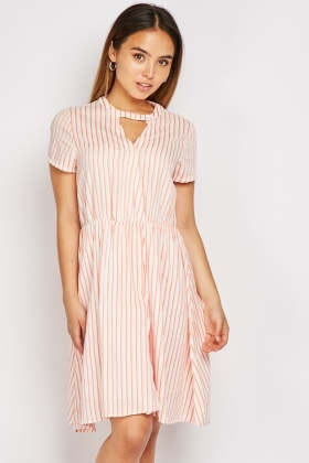Striped Short Sleeve Skater Dress