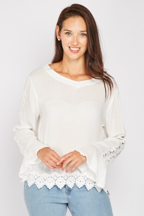 Crochet Trim V-Neck Blouse