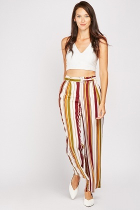 Straight Fit Striped Trousers
