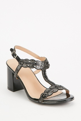 Embellished T-Strap Heel Sandals