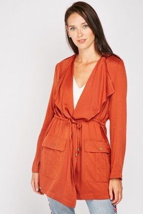 Flap Pocket Front Waterfall Jacket