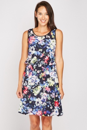 Multiple Floral Cotton Dress