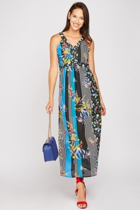 Stripe Floral Mix Maxi Dress