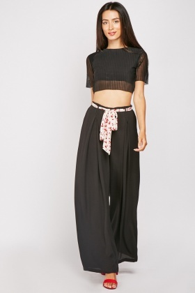 Plain Wide Leg Trousers