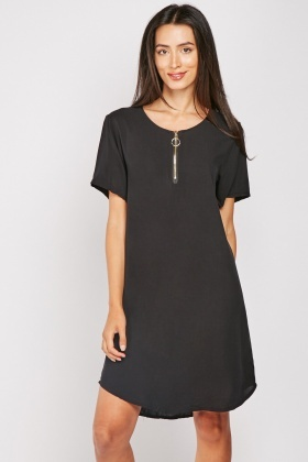 Zip Detail Cotton Tunic Dress