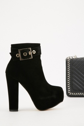 Buckled Top Suedette Ankle Boots