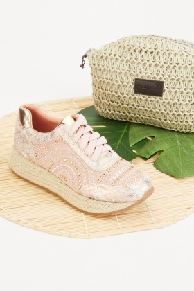 Encrusted Contrast Espadrille Shoes