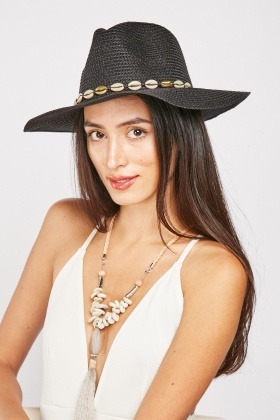 Seashell Trim Floppy Hat
